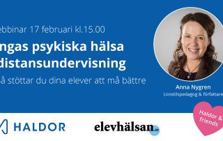 Banner för webbinariet med texten Webbinar 17 februari, Ungas psykiska hälsa i distansundervisning.